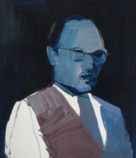 Clara Adolphs, Suited Man 39 x 45 cm, oil on linen