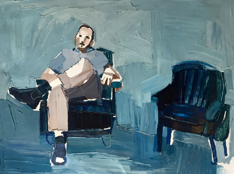 Clara Adolphs, Waiting Man 82 x 56 cm, oil on linen, available