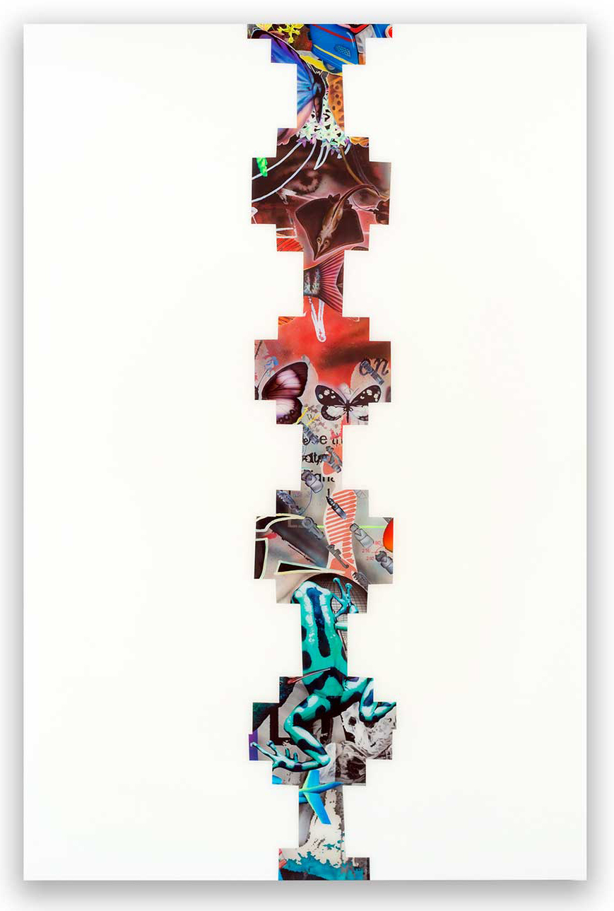 Rus Kitchin, World Strand 1 2017 Spray paint, acrylic, and resin on birch, 113 x 170cm