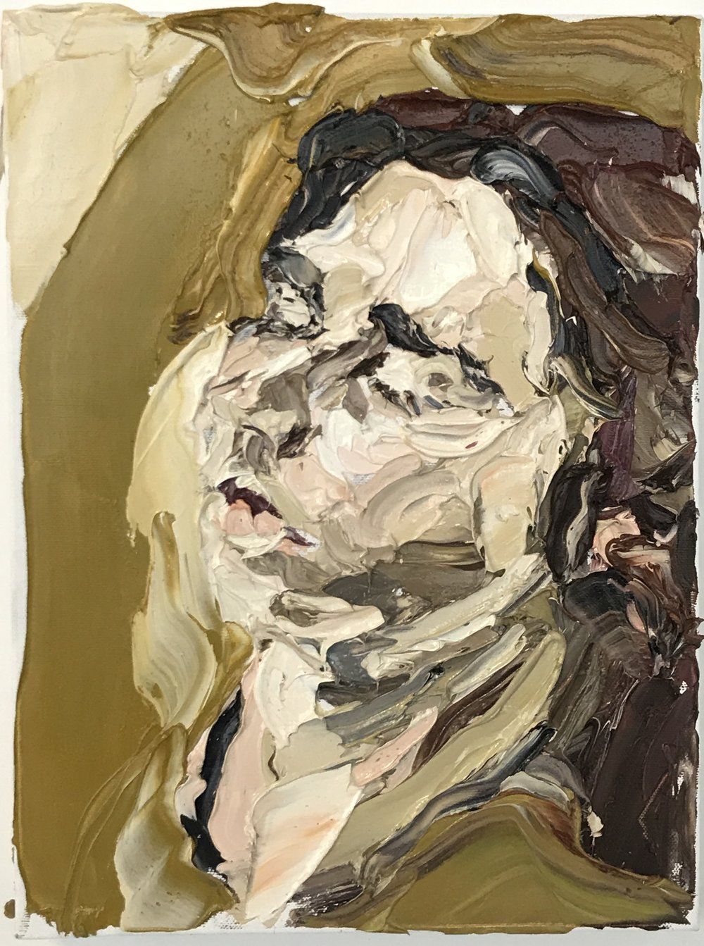 Nick Herd, Charlotte Sleeping oil on canvas, 31 x 41 cm