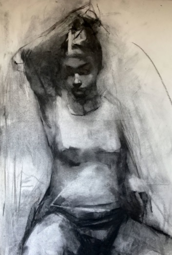 Paul W Ruiz, Juli 1707 Charcoal on paper, 105 x 72 cm, available