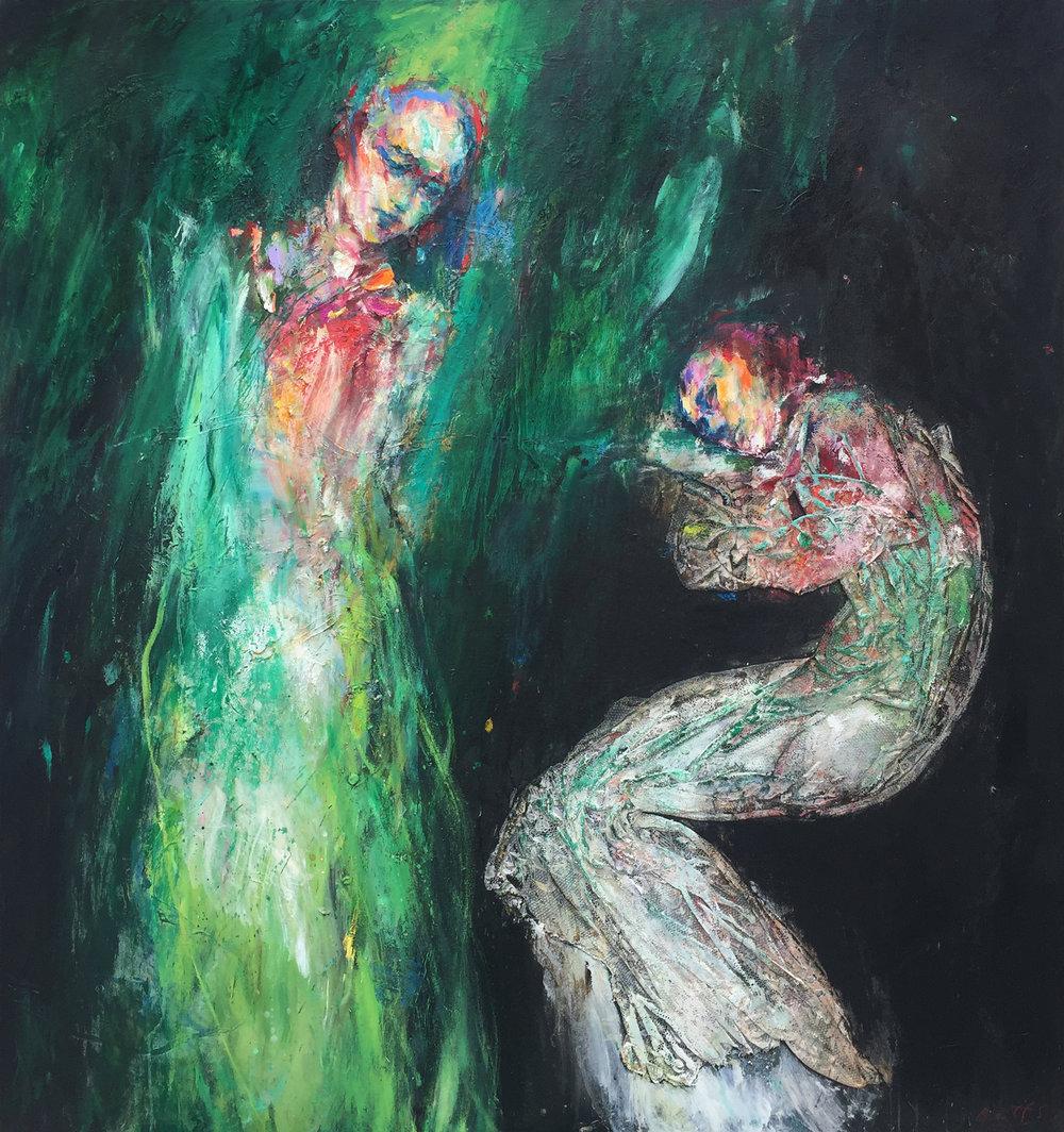 Heather Betts, Verdant mixed media on canvas, 140 x 150 cm, available