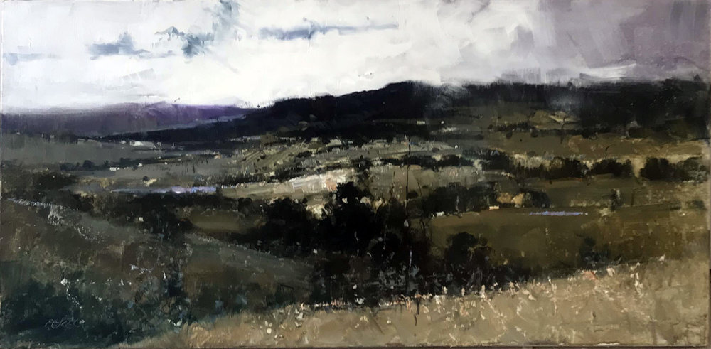 Herman Pekel, Snowy Mountains 1 oil on canvas, 92 x 46 cm, available