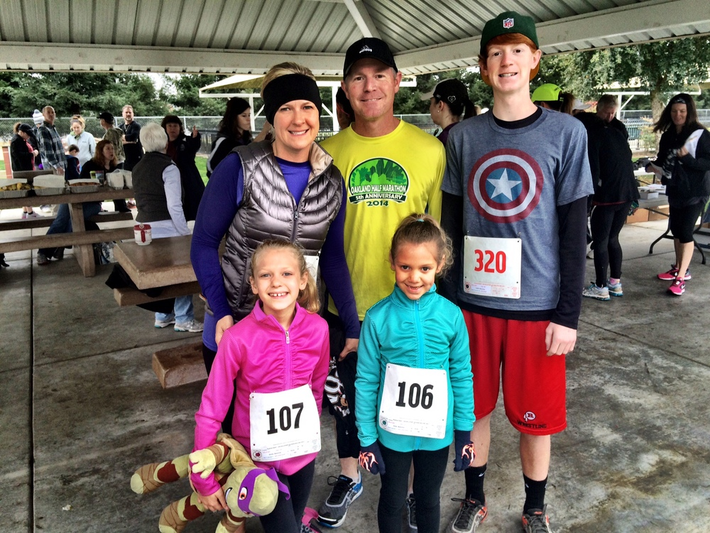 BRENT, BROOKE, CALEB, ANNIE, AND AMIE RUNNING IN THE ANNUAL ALMOND BLOSSOM FESTIVAL FUN RUN