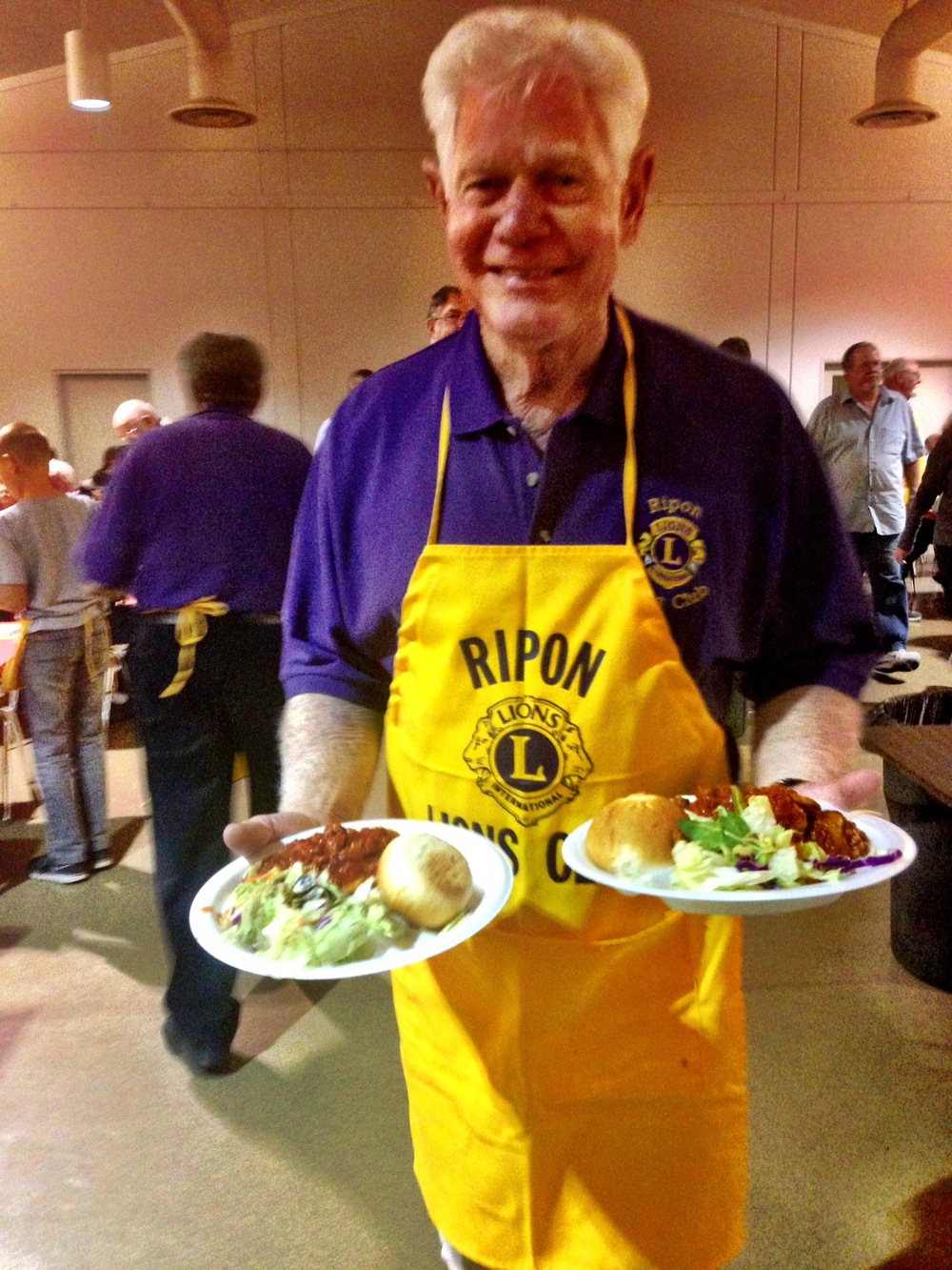 ARVIN SERVING AT THE ANNUAL LION'S CLUB BREAKFAST