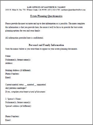 estate plan questionnaire