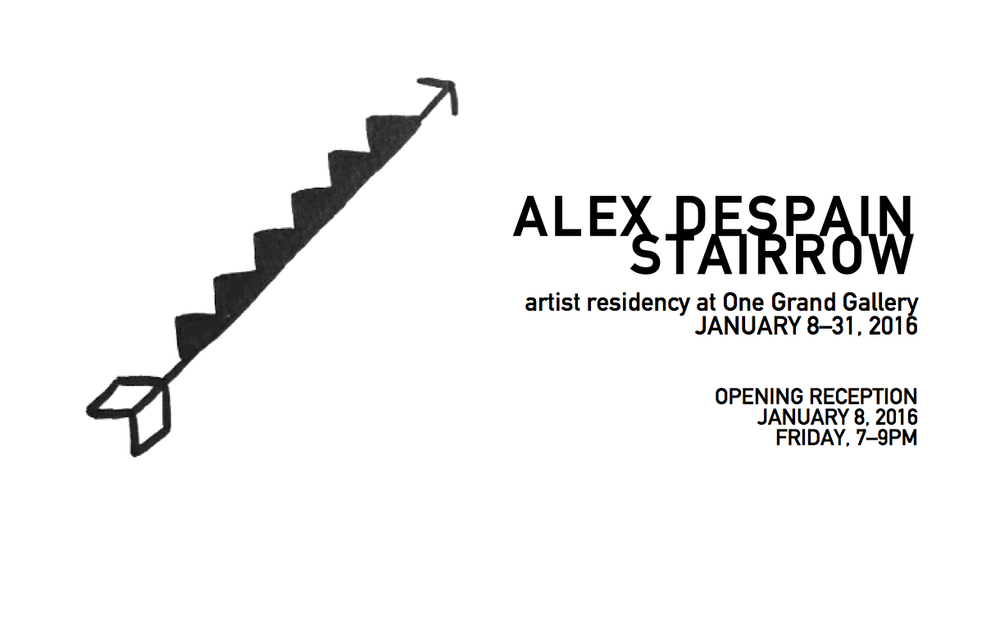 Please join us Friday, January 8th in celebration of Alex DeSpain's month-long artist residency. Stairrow seeks to bring the viewer into DeSpain's process of creating his ideogram-esque illustrations. In addition to the artist's goal to produce one-thousand drawings for One Grand Gallery, DeSpain will create a site-specific mural acting as a backdrop to his public studio hours. For more information regarding available works by the artist,  please contact the gallery .