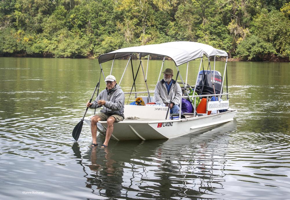 Riverkeeper Dan Arriving at Torreya in the Support Boat