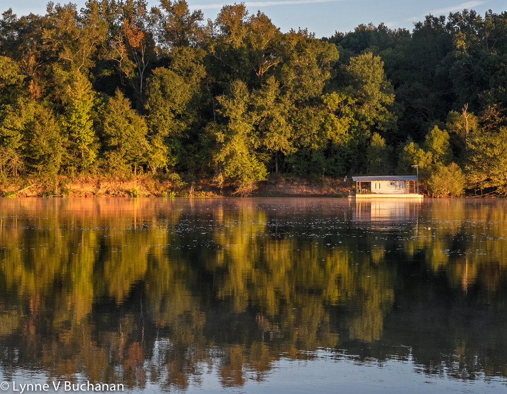 Early Morning Glow, Apalachicola River with Floating House
