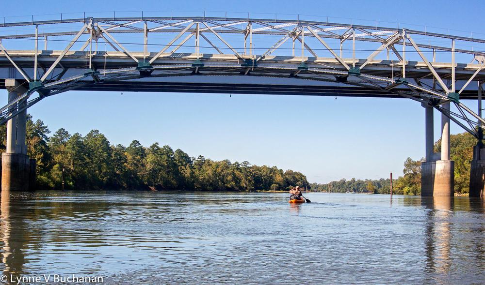 Gary Kayaking Under the Highway 20 Bridge