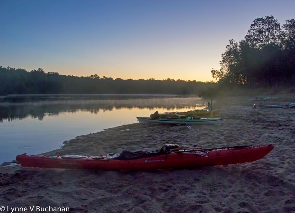 Boats and Fog at Dawn, Apalachicola River Sandbar
