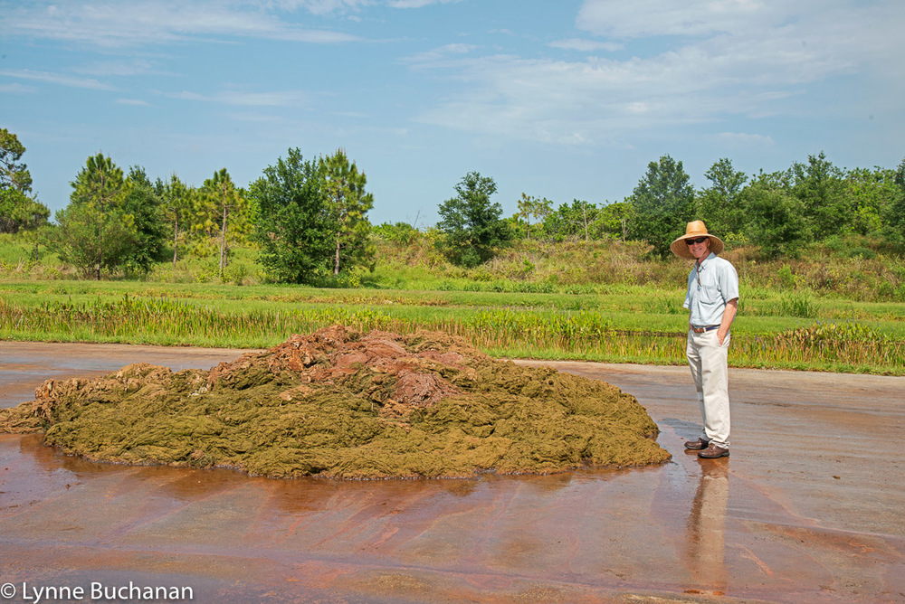 Keith McCully Standing Beside Two Weeks of Harvested Algae