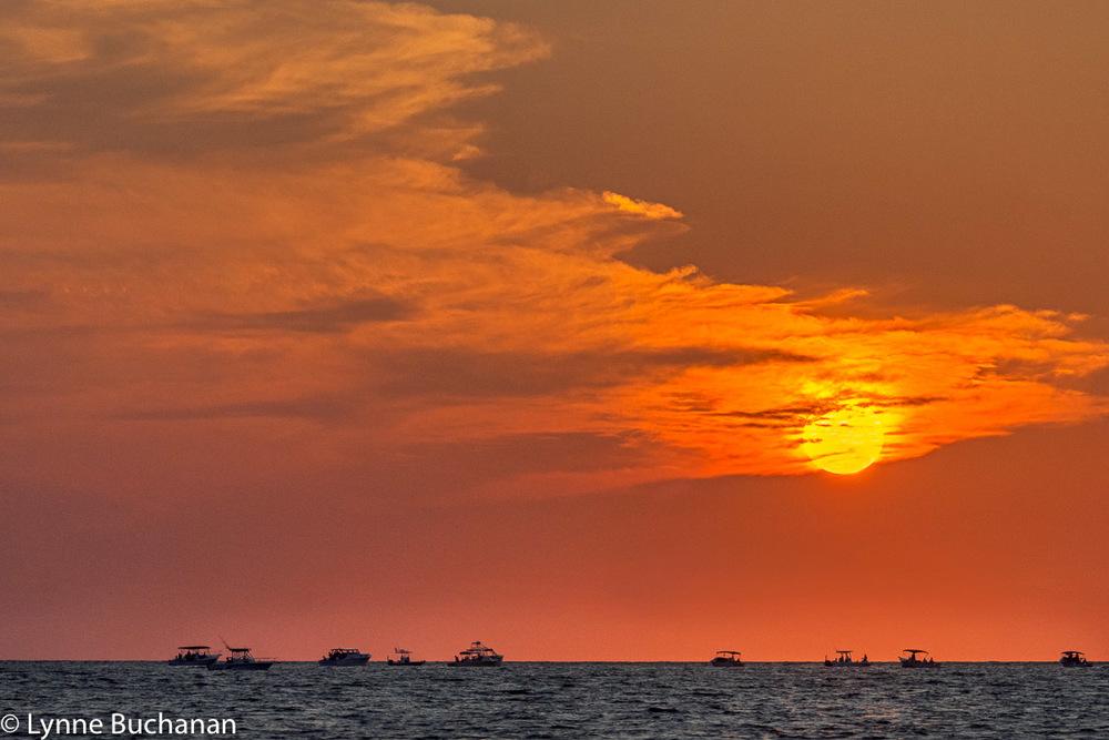 Sunset Over Tarpon Fishing Boats Near Boca Grande