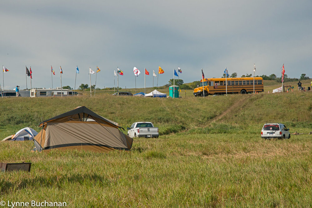 School Bus Entering Sacred Stone Camp