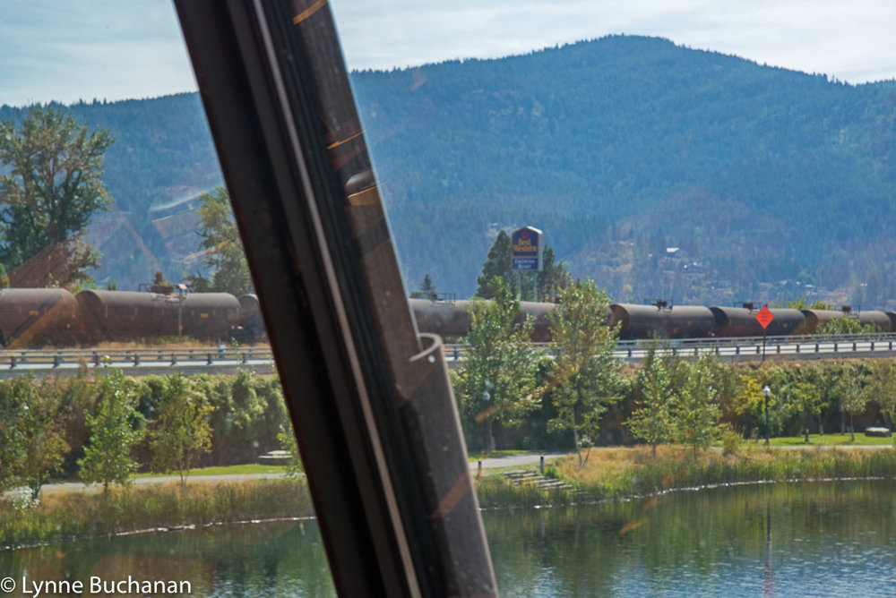 Bakken Train Passing Between Lake Pend Oreille and Sand Creek