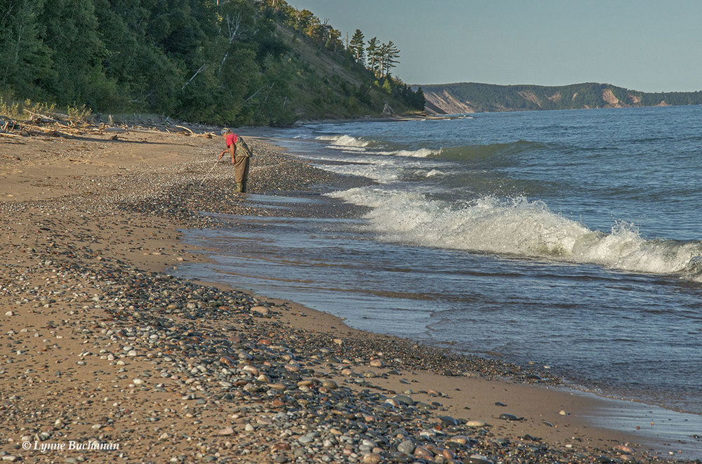 Adrian Hunting for Agates on Agate Beach, Lake Superior