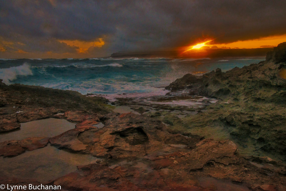 Kaehu Point, Sun Waves and Stormy Skies