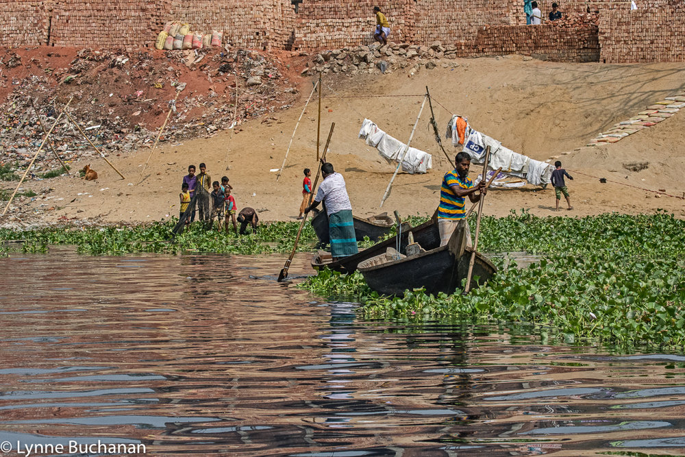 Buriganga River Boatmen, Children Harvesting Hyacinths, Drying Bags and Other Activities