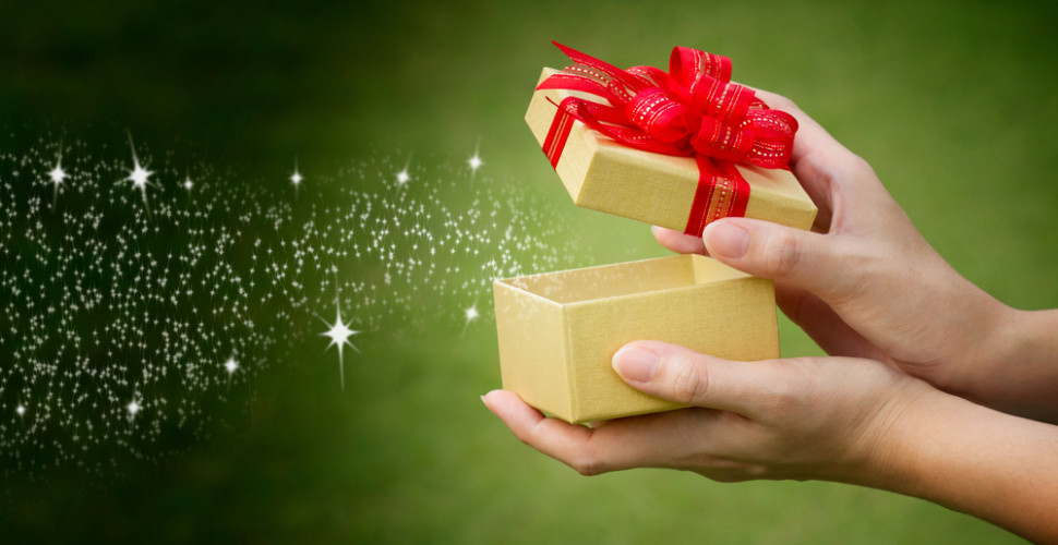glittery gift box