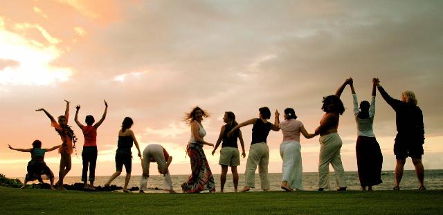 happy women along the beach