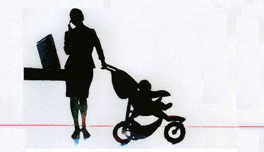 woman with baby stroller on the phone computer