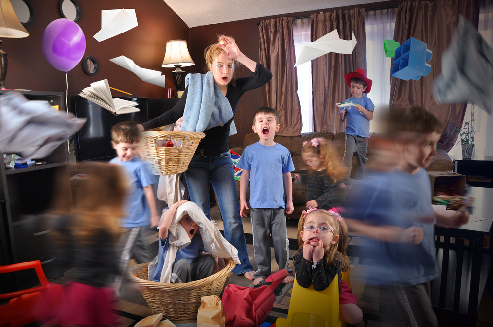 stressed out mom children chaos
