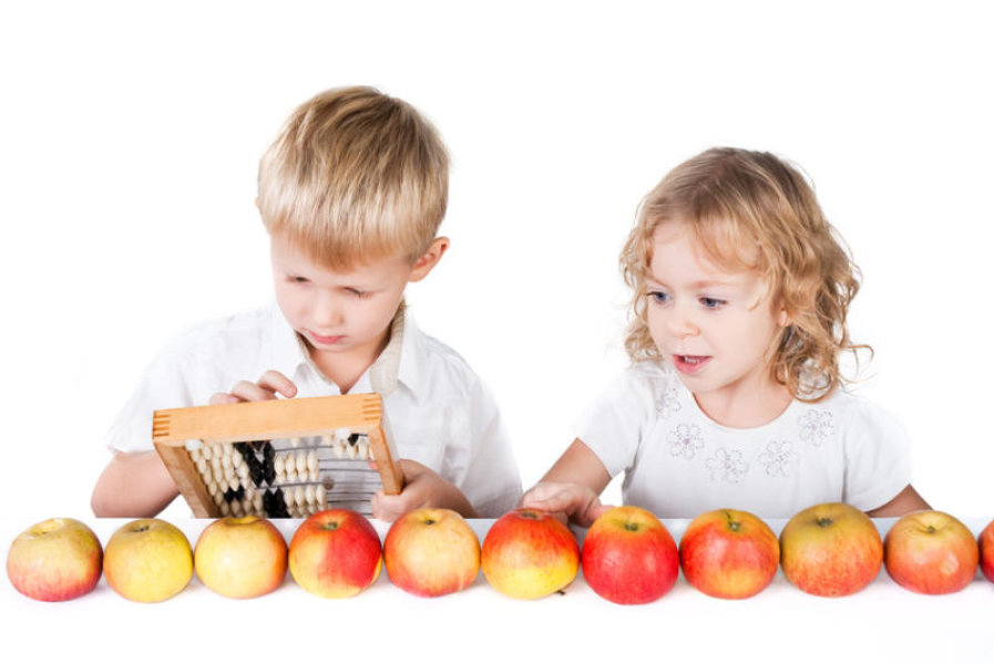 children with abacus and apples