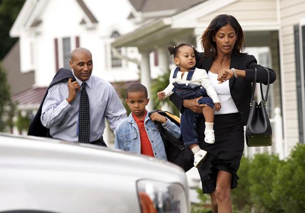 family rushing to work school