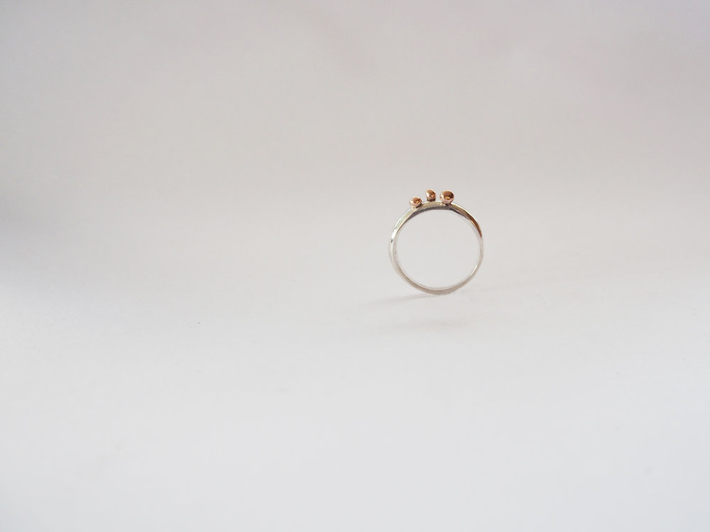 9k rose gold, sterling silver.