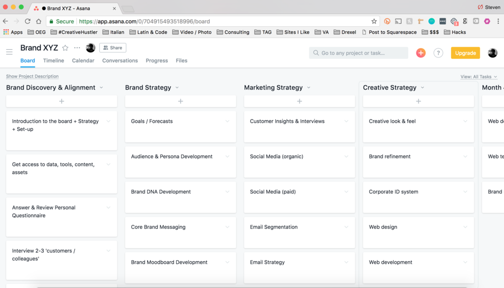 Brand + Marketing Playbook - Personalized cloud-based Asana board to stay organized and efficient
