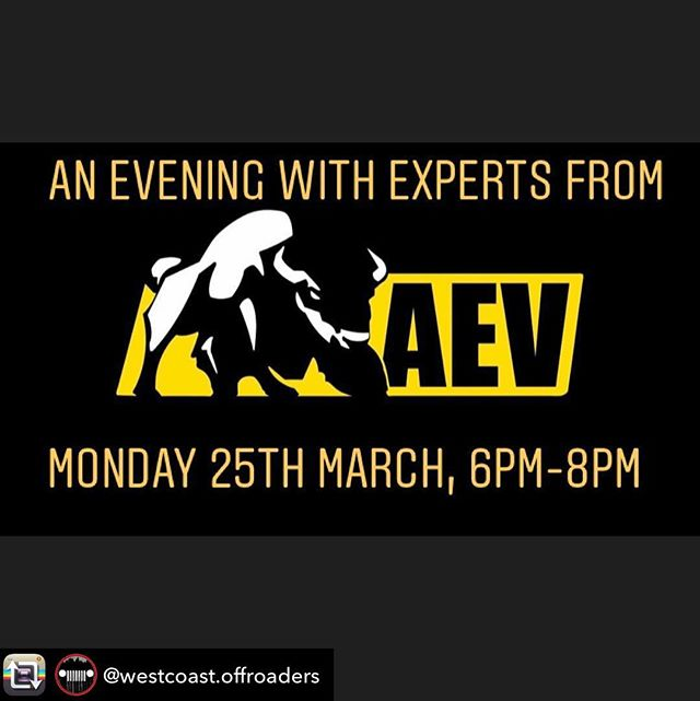 Repost from @westcoast.offroaders - West Coast Off Roaders is excited to be hosting, and to invite you, to an evening with AEV experts Mitch and Brad (available at WCOR's from 1pm). An AEV modified Jeep JK, RAM 1500 and ZR2 Colorado Truck (images featured in post) will be available for viewing. Light refreshments and drinks will be provided. If you'd like a personal discussion on any of AEVs products, feel free to drop by from 1pm when the guys will be available in our showroom. West Coast Off Roaders is very proud to be your Greater Vancouver Area supplier of AEV products.