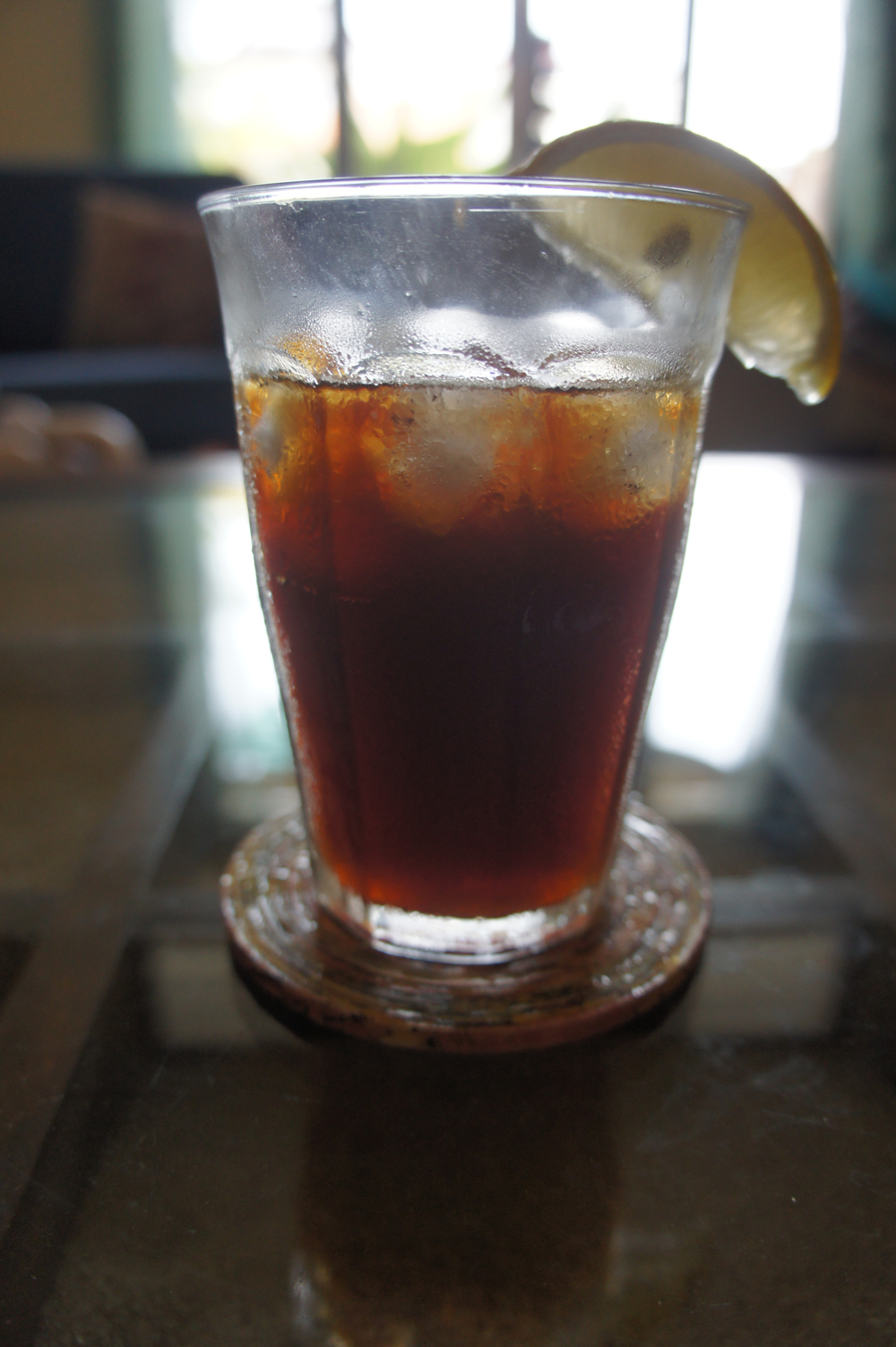 Our morning brew-- a cold brew concentrate with tonic water and a wedge of lemon!