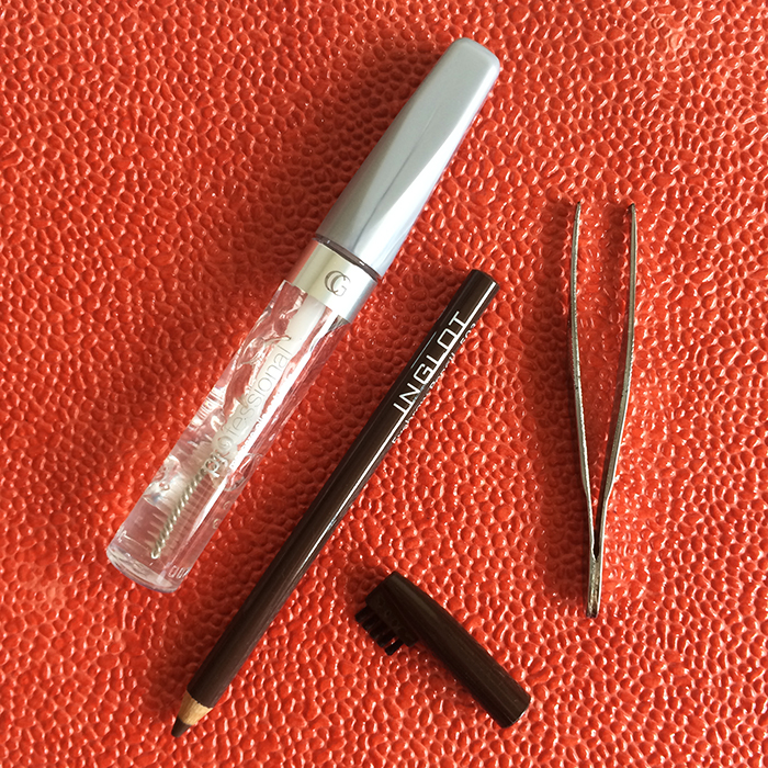 Left To Right:    (1) CoverGirl Professional Natural Lash Mascara, (2) Inglot Eyebrow Pencil, and (3) Tweezers