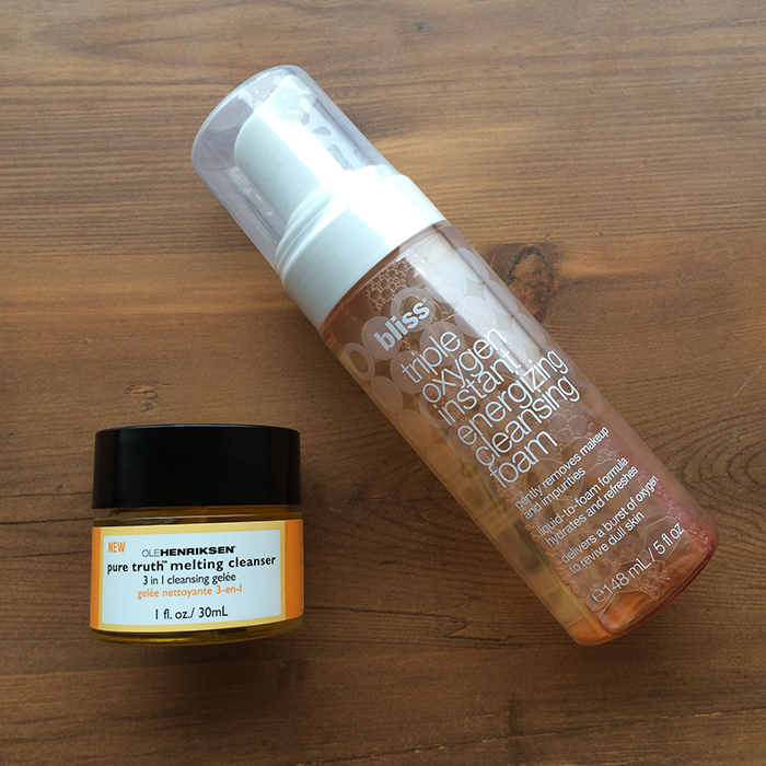 Left To Right:    1) Ole Henriksen Pure Truth Melting Cleanser and 2) Bliss Triple Oxygen Instant Energizing Cleansing Foam