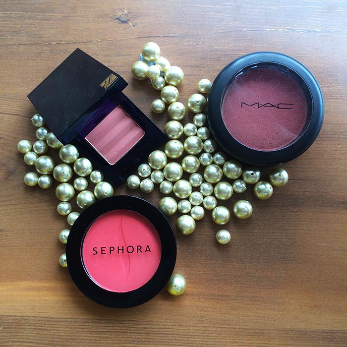 1) Estee Lauder Tender Blush in 'Nude Rose', 2) MAC Sheertone ShimmerBlush in 'Peachykeen', and 3) Sephora Blush in 'Orange Pop'
