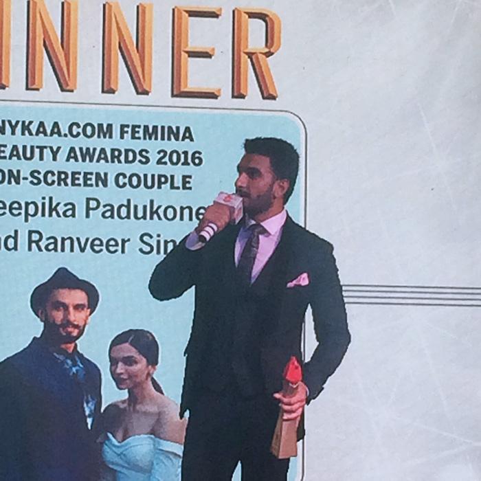 Ranveer Singh At The Nykaa Femina Beauty Awards 2016