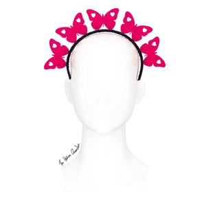 4bc0f953ce002 The Human Chameleon - Millinery - SS18 -Kaleidoscope Butterfly Halo  Headband - Pink - Large