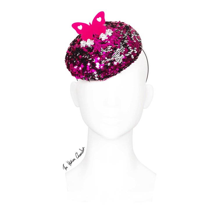 3fa8821aa43b8 The Human Chameleon - Millinery - SS18 - Kaleidoscope Butterfly Sequin Beret  - Pink - Large