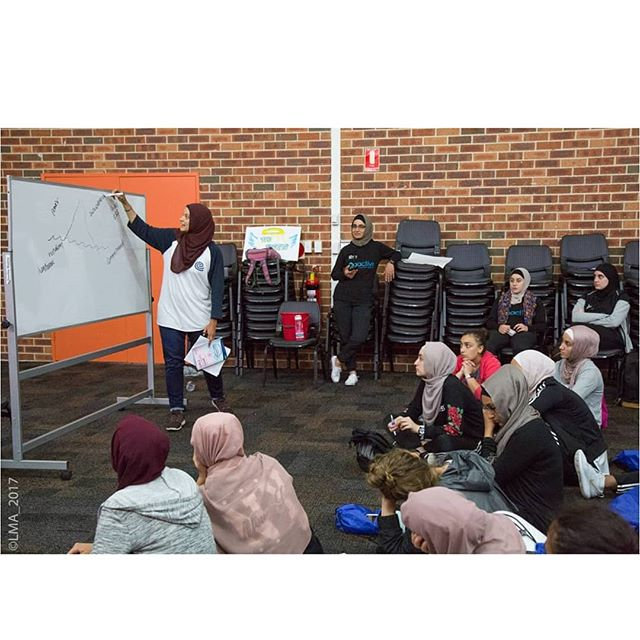 Our awesome workshop facilitators Assmaah and Yasmine talking the girls through last year's 'Values' workshop.  The ladies explored themes such as self awareness, strength, confidence and values!  We will have great workshops like this at our Winter camp!  Register for the camp by emailing: goactive@lma.org.au  Check out some of the feedback from the participants. 😁😁