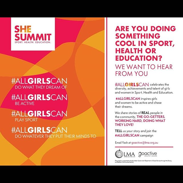 #ALLGIRLSCAN Campaign shares stories of local girls and women participating in professional, recreational, social, amateur, or any type of physical activity, sport or health related programs.  We want YOU to tag females who are doing great work to celebrate their achievements big or small.  #allgirlscan do what they dream of #allgirlscan play sport. #allgirlscan be active #allgirlscan do whatever they put their mind to.