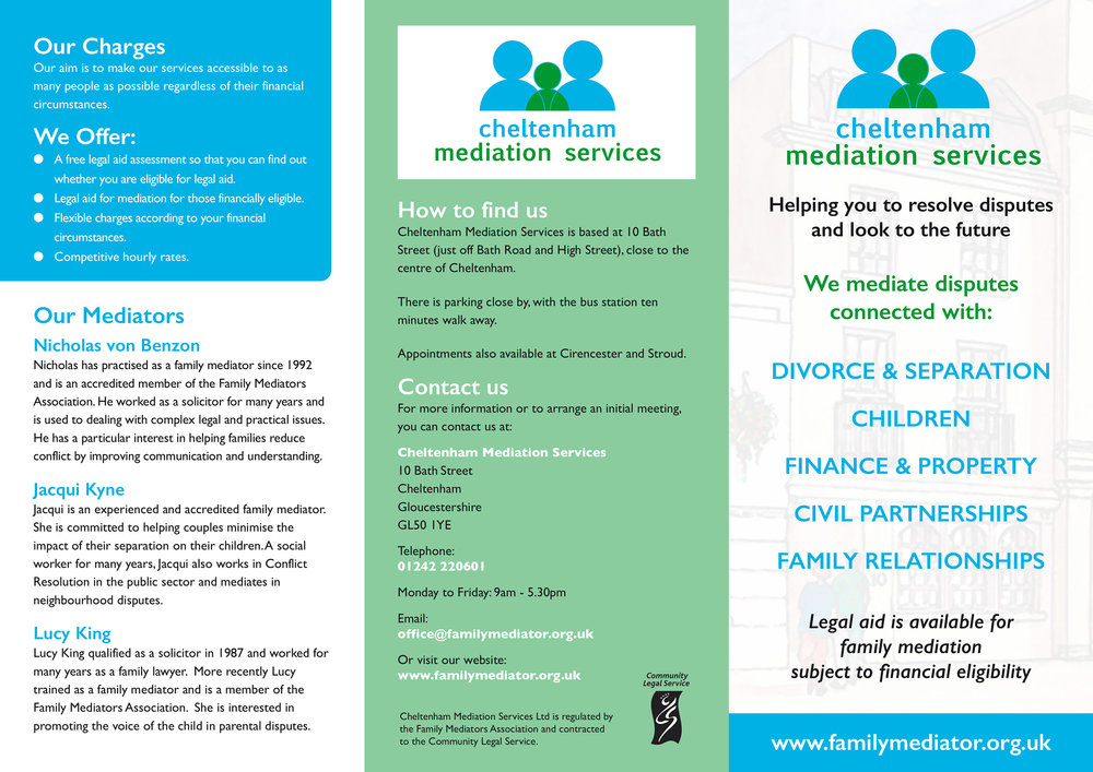cheltenham mediation services folding leaflet design