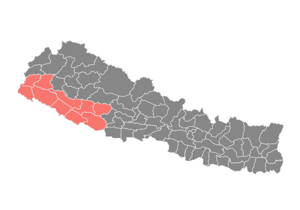 map of nepal and surveyed districts