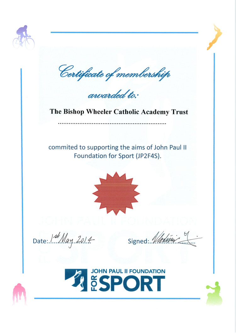 JP2F4S Certificate that was presented to the Bishop Wheeler Catholic Academy Trust, 1 May 2014