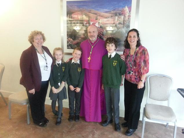 The Tenth Bishop of Leeds with Mrs Knight, Jessica, Jonjoe, Calum and Mrs Russell (St. Joseph's Otley)