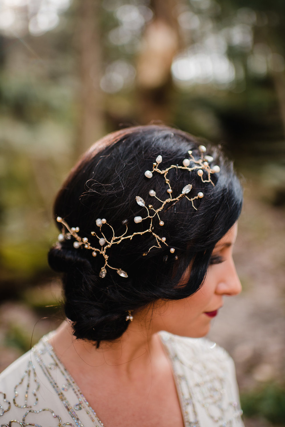 Handmade adornments for a modern yet timeless bridal look. -