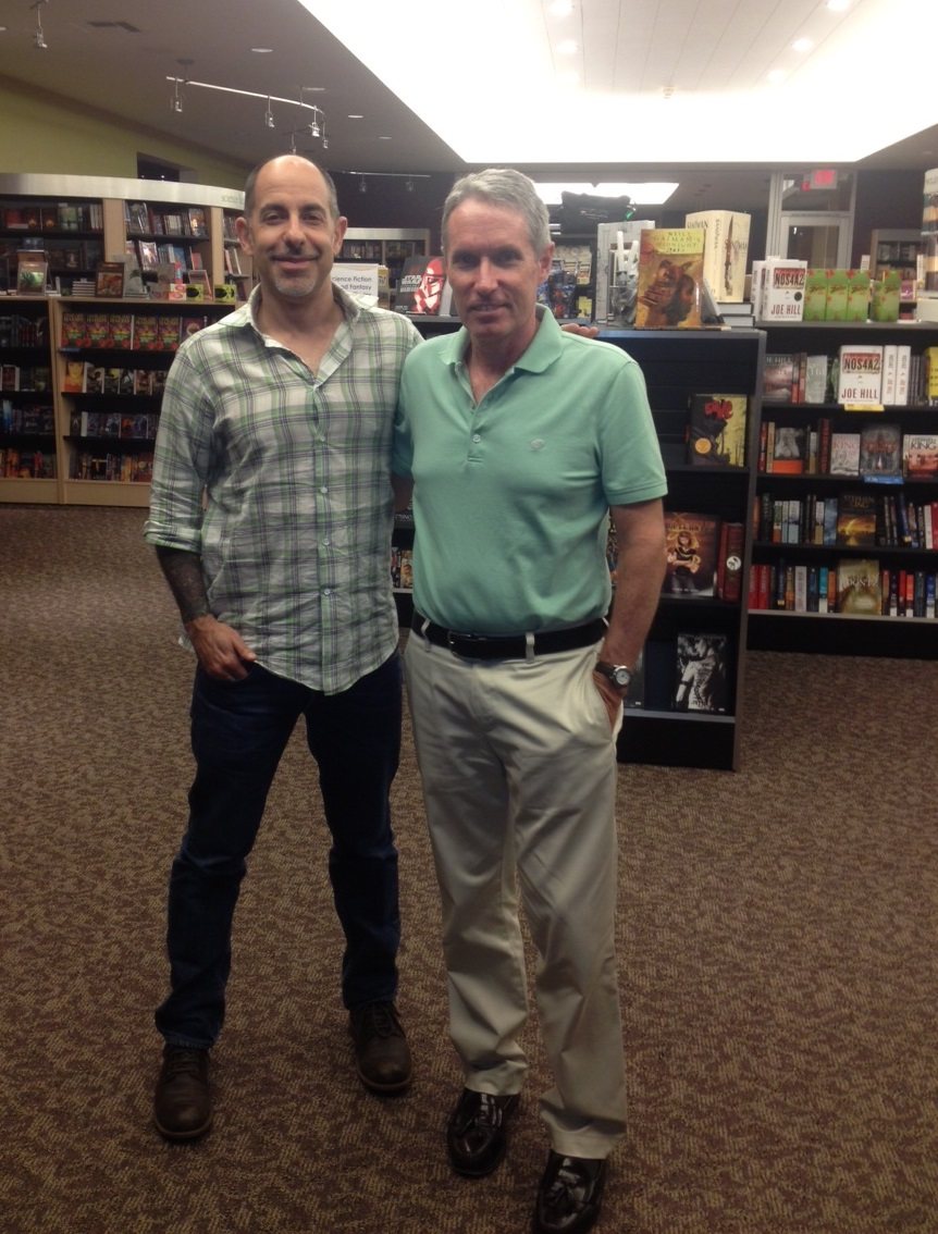 David and Michael at their US signing of Heaven's Fall, the Mysterious Galaxy bookshop