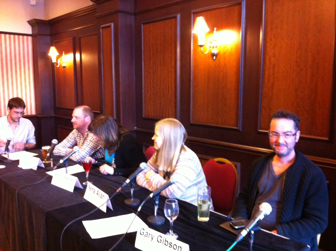 Gary Gibson on Eastercon convention panel (right)