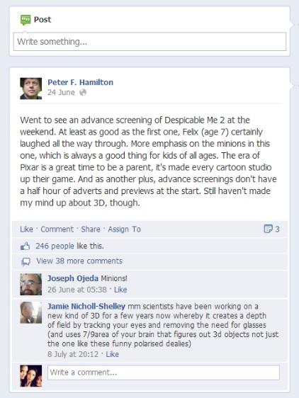 Peter F Hamilton on social media