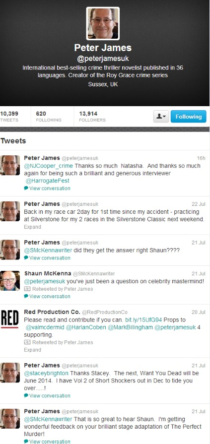 Author Peter James sharing on twitter
