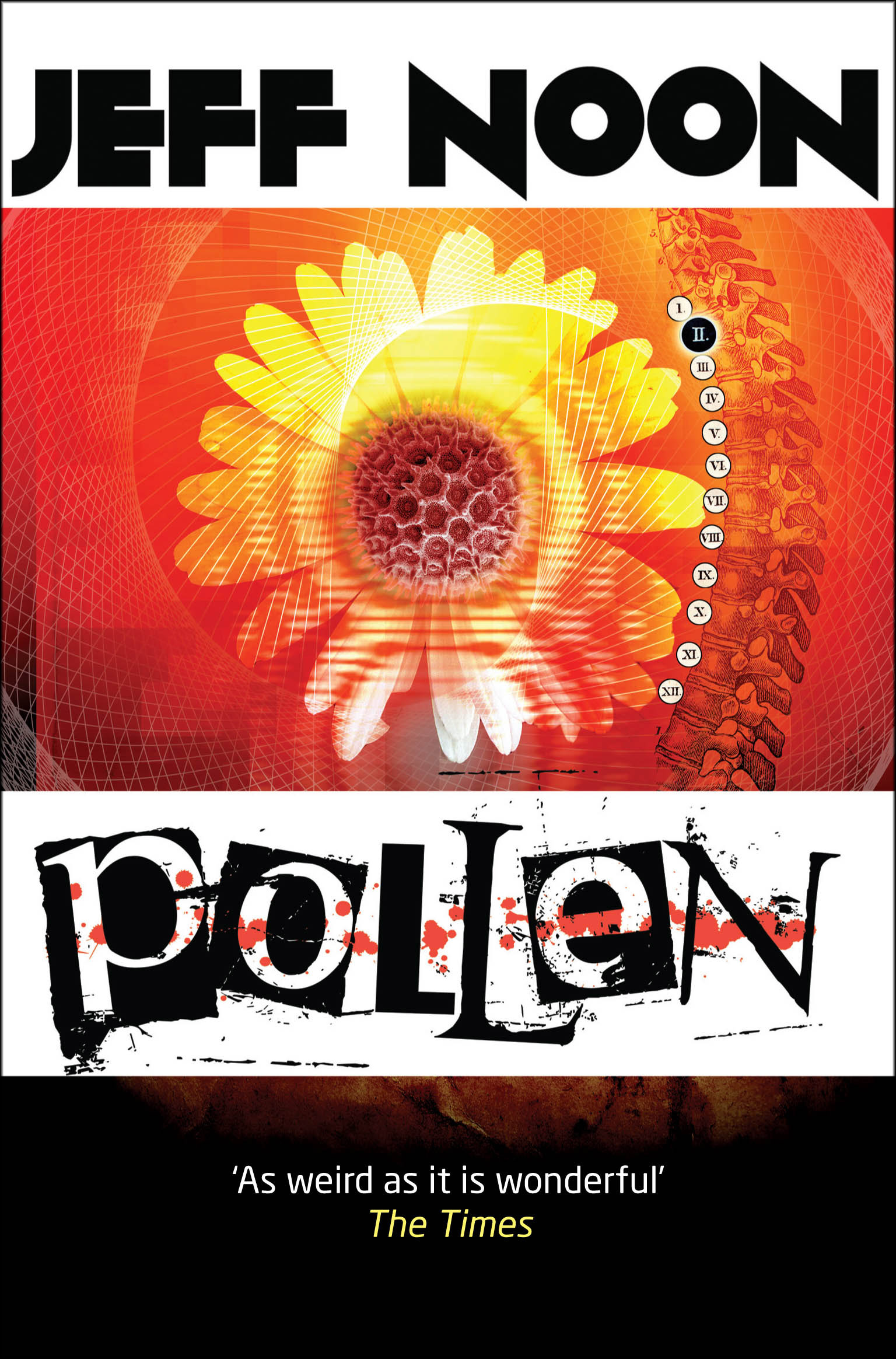 Pollen by Jeff Noon, with cover design by Curtis McFee - a standalone set in the same world as Vurt
